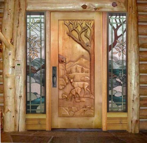 entrance door with bear and deer